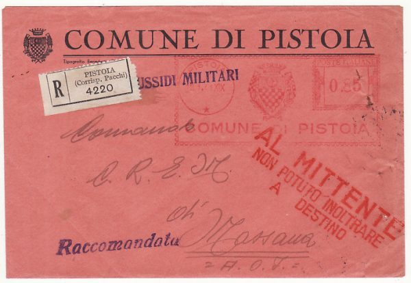 ITALY - ERITREA …WW2 RETURN TO SENDER UNABLE TO DELIVER.....