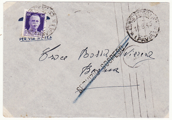 [18644]  ITALY - SWITZERLAND ...1943 SERVICE SUSPENDED & LATER DELETED....  1943 (Aug 10)