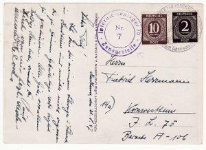 GERMANY....POST WW2 No 75 INTERNMENT CAMP ..