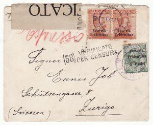 ITALY (VENEZIA TRIDENTINA) - SWIZERLAND….1918 ITALIAN OCCCUPATION…