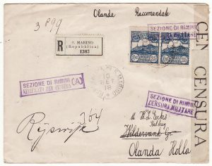 SAN MARINO - HOLLAND…..WW1 CENSORED REGISTERED MAIL with TPO …..