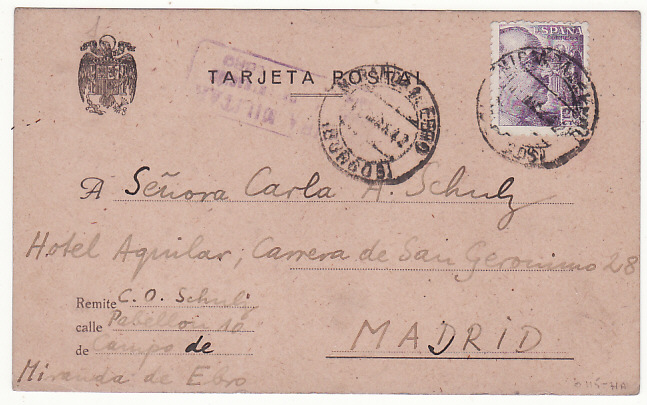 [18668]  SPAIN…WW2 EX INTERNATIIONAL VOLUNTEER in SPANISH CIVIL WAR…  1942 (Mar 13)