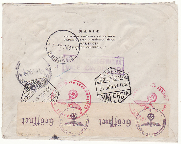 [18691]  SPAIN - CROATIA…WW2 REGISTERED CENSORED AIRMAIL…  1944 (Jun 21)