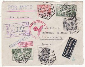 SPAIN - CROATIA…WW2 REGISTERED CENSORED AIRMAIL…