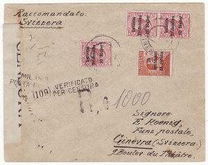 ITALY (VENEZIA TRIDENTINA) - SWIZERLAND….1919 ITALIAN OCCCUPATION REGISTERED…