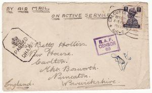 INDIA - GB….WW2 RAF CENSORSHIP…