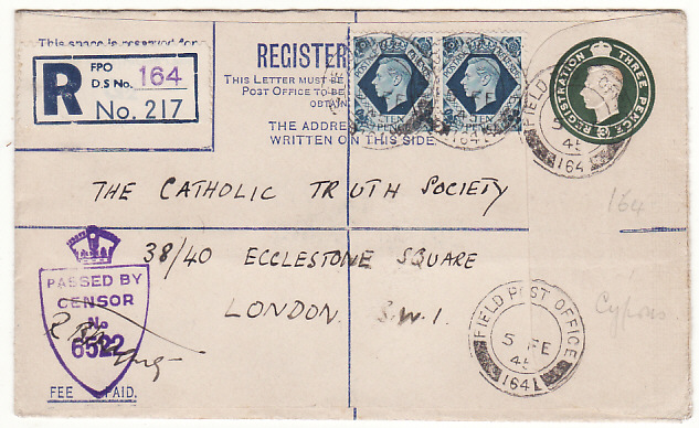 [18705]  CYPRUS - GB...WW2 CENSORED UPRATED REGISTERED ENVELOPE…  1945 (Feb 5)