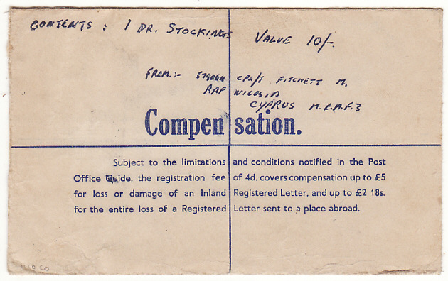 [18707]  CYPRUS - GB…POST WW2 CENSORED REGISTERED COMPENSATION ENVELOPE…  1952 (May 12)