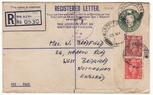 CYPRUS - GB…POST WW2 CENSORED REGISTERED COMPENSATION ENVELOPE…