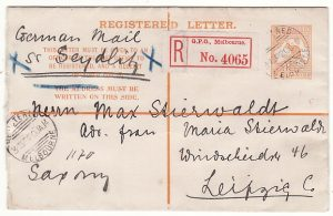 AUSTRALIA - GERMANY..4d KANGAROO REGISTERED ENVELOPE..