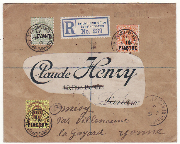 [18728]  BRITISH LEVANT - FRANCE...REGISTERED & FORWARDED MAIL..  1910 (Sep 7)