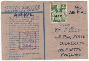 PALESTINE - GB...WW2 CENSORED RAF HONOUR ENVELOPE…