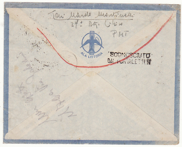 [18742]  LIBYA - ITALY …WW2 NORTH AFRICA RETURN TO SENDER.....  1941 (Dec 8)