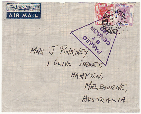 [18774]  HONG KONG - AUSTRALIA…AIRMAIL VIA RANGOON…  1941 (Oct 21)