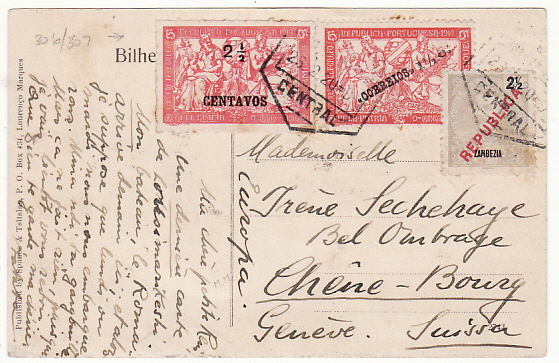 [18776[  MOZAMBIQUE - SWITZERLAND…ZAMBEZIA & WAR TAX...   1920 (Feb 23)
