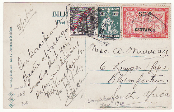 ]18777]  MOZAMBIQUE - SOUTH AFRICA…MIXED FRANKING...   1920 (dec 3)