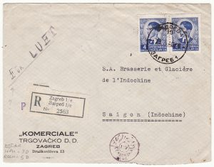 YUGOSLAVIA - INDO-CHINE…1940 REGISTERED CENSORED ...