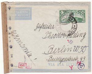 SAN MARINO - GERMANY…..WW2 CENSORED AIRMAIL …..