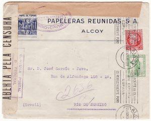 SPAIN - BRAZIL …SPANISH CIVIL WAR DOUBLE CENSORED ....