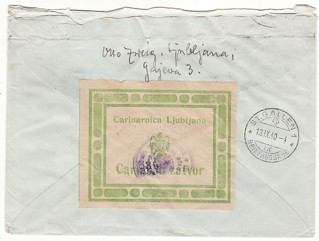 [18797]  YUGOSLAVIA - SWITZERLAND …1940 REGISTERED with CARINARNICA LJUBIJANA CUSTOMS LABEL ....   1940 (Sep 10)