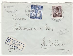 YUGOSLAVIA - SWITZERLAND …1940 REGISTERED with CARINARNICA LJUBIJANA CUSTOMS LABEL ....