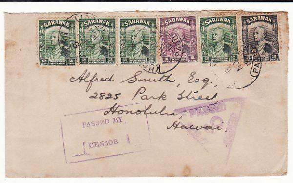 SARAWAK - HAWAII..WW2 DOUBLE CENSORED & with PAQUEBOT…
