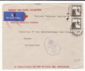 PALESTINE - SWITZERLAND...WW2 RED X POSTAL MESSAGE SCHEME …