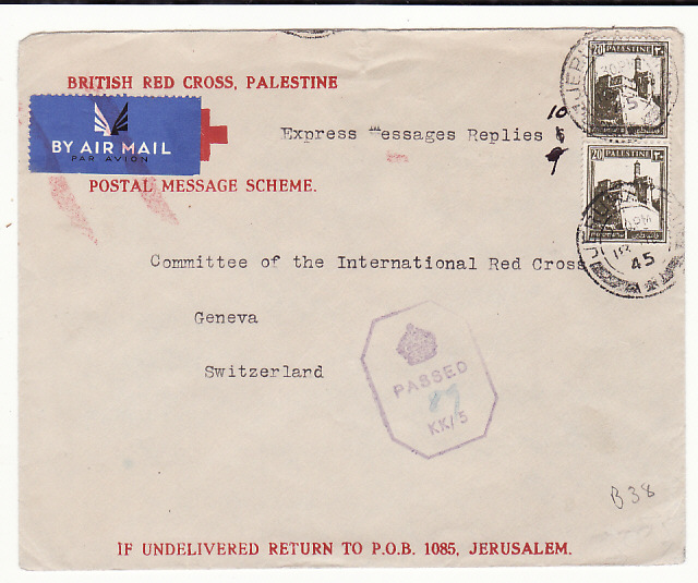 [18821]  PALESTINE - SWITZERLAND...WW2 RED X POSTAL MESSAGE SCHEME …  1945 (Jul 18)