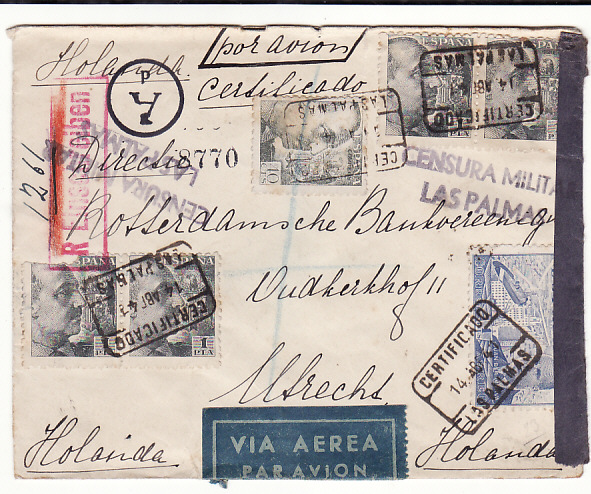 [18824]  SPAIN - HOLLAND…WW2 DOUBLE CENSORED AIRMAIL …  1941 (Apr 14)