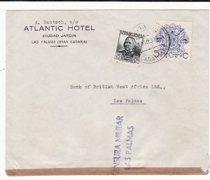SPAIN …1937 CIVIL WAR LAS PALMAS LOCAL MAIL …