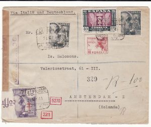 SPAIN - HOLLAND…WW2 DOUBLE CENSORED AIRMAIL …