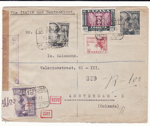 [18826]  SPAIN - HOLLAND…WW2 DOUBLE CENSORED AIRMAIL …  1941 (May 24)