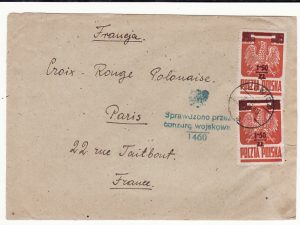 POLAND - FRANCE…1945 to RED CROSS with RARE 1.50z on 25g adhesives…