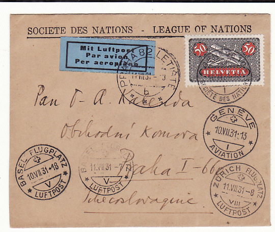 [18834]  SWITZERLAND - CZECHOSLOVAKIA…1931 LEAGUE OF NATIONS…  1931 (Jul 9)