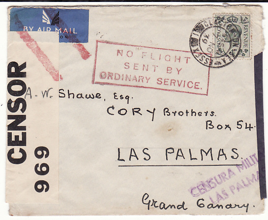 [18835]  GB - SPAIN…WW2 NO FLIGHT SENT ORDINARY MAIL…  1939 (Nov 7)