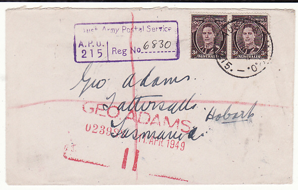 [18847]  JAPAN - AUSTRALIA…AUSTRALIAN BCOF FORCES MAIL …  1949 (Mar 31)