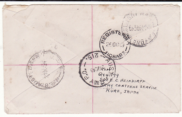 [18848]  JAPAN - AUSTRALIA…AUSTRALIAN BCOF FORCES MAIL …  1949 (Oct 20)