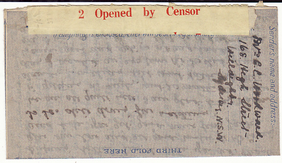 [18855]  AUSTRALIA - GB…WW2 RED on YELLOW AIR LETTER CENSOR LABEL …  1944 (Nov 30)