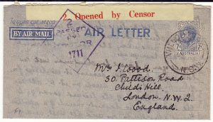 AUSTRALIA - GB…WW2 RED on YELLOW AIR LETTER CENSOR LABEL …