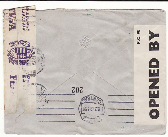 [18875]  HUNGARY - GB via PORTUGAL...UNDERCOVER MAIL THOMAS COOK BOX 506..  1943(Mar)