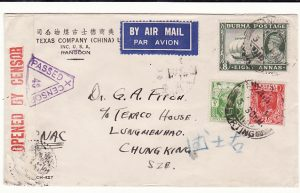 BURMA - CHINA... WW2 CENSORED AIRMAIL via CNAC…