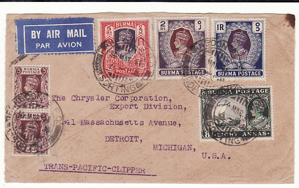 [18878]  BURMA - USA... WW2 CENSORED AIRMAIL via TRANS ACIFIC CLIPPER…  1941 (May 14)