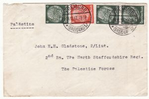 GERMANY - PALESTINE…1936 PALESTINE UPRISING INCOMING MAIL …
