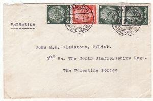 GERMANY - PALESTINE…1936 PALESTINE UPRISING INCOMING MAIL …