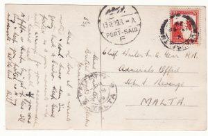 PALESTINE - MALTA…1929 to HMS REVENGE …