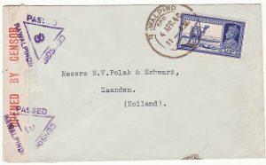 INDIA - HOLLAND… WW2 CENSORED at RAWALPINDI ..