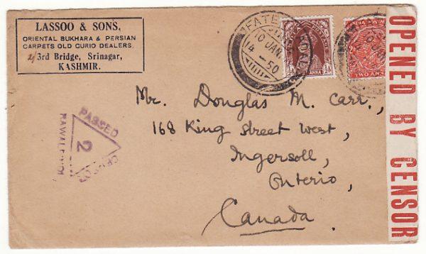 INDIA - CANADA… WW2 CENSORED  ..