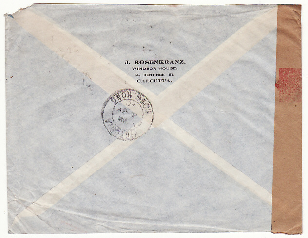 [18952]  INDIA - USA… WW2 CENSORED AIRMAIL via HONG KONG ..  1940 (Jun 24)