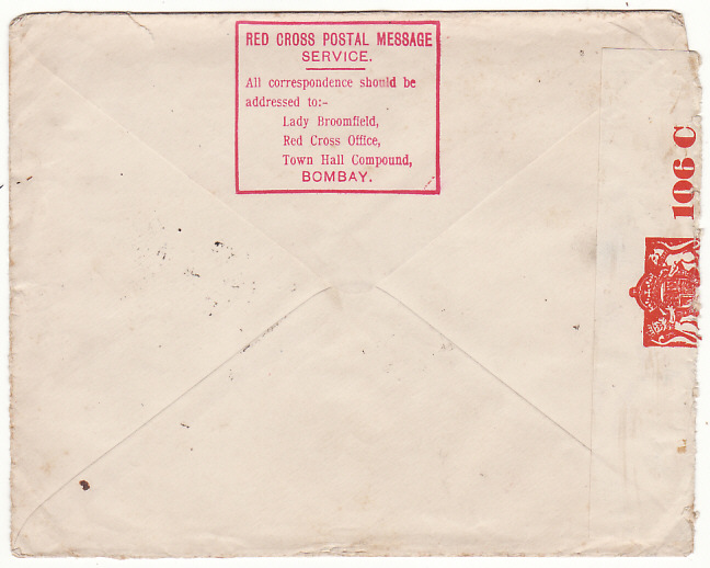 [18953]  INDIA - SWITZERLAND… WW2 CENSORED AIRMAIL to RED CROSS ..  1942 (Jan 2)