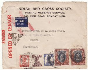 INDIA - SWITZERLAND… WW2 CENSORED AIRMAIL to RED CROSS ..